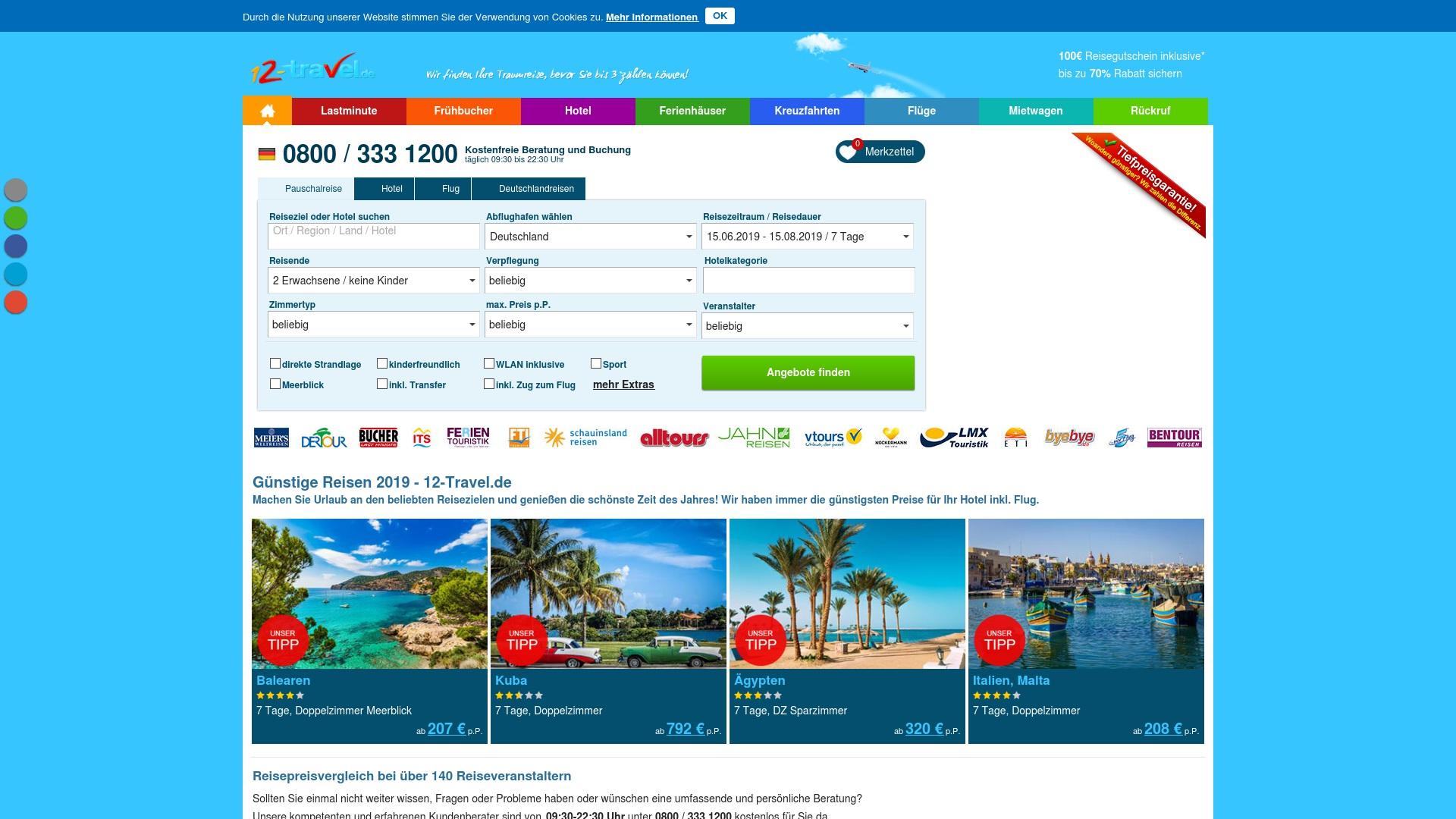 Gutschein für 12-travel: Rabatte für  12-travel sichern