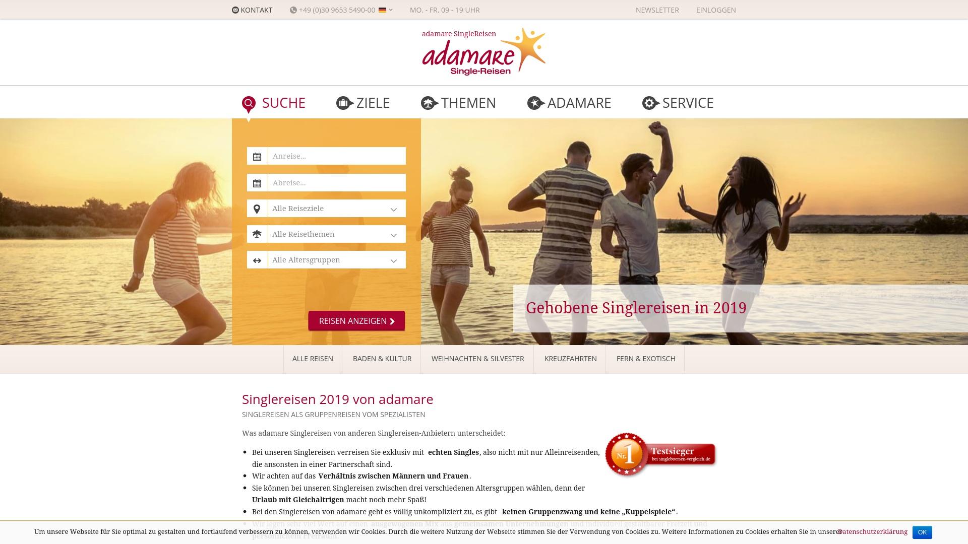 Gutschein für Adamare-singlereisen: Rabatte für  Adamare-singlereisen sichern