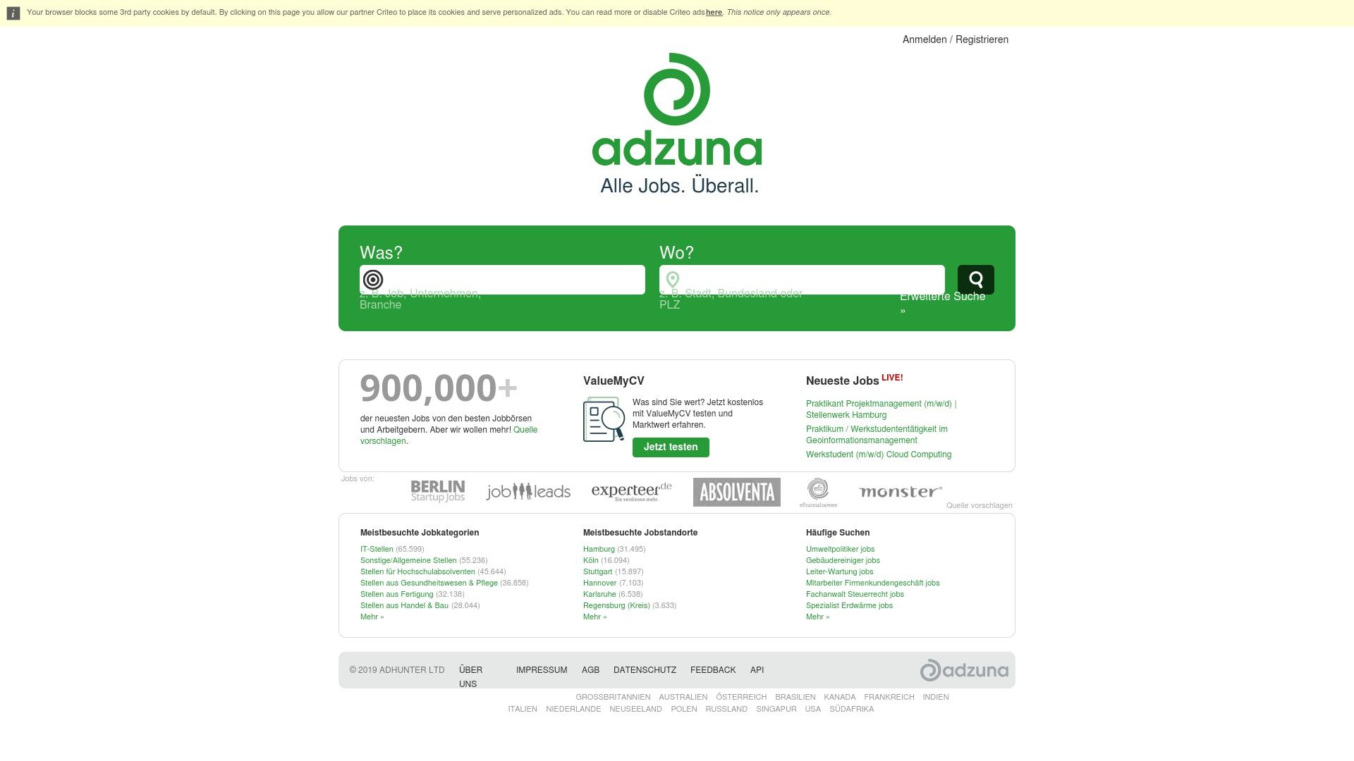 Gutschein für Adzuna: Rabatte für  Adzuna sichern