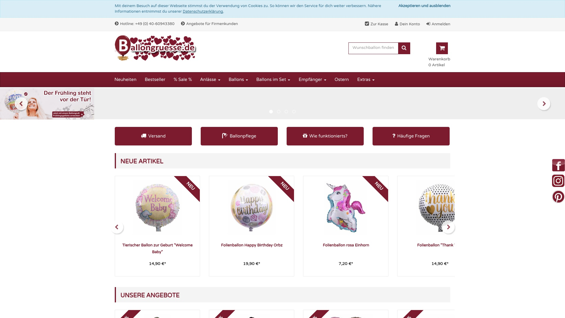 Gutschein für Ballongruesse: Rabatte für  Ballongruesse sichern