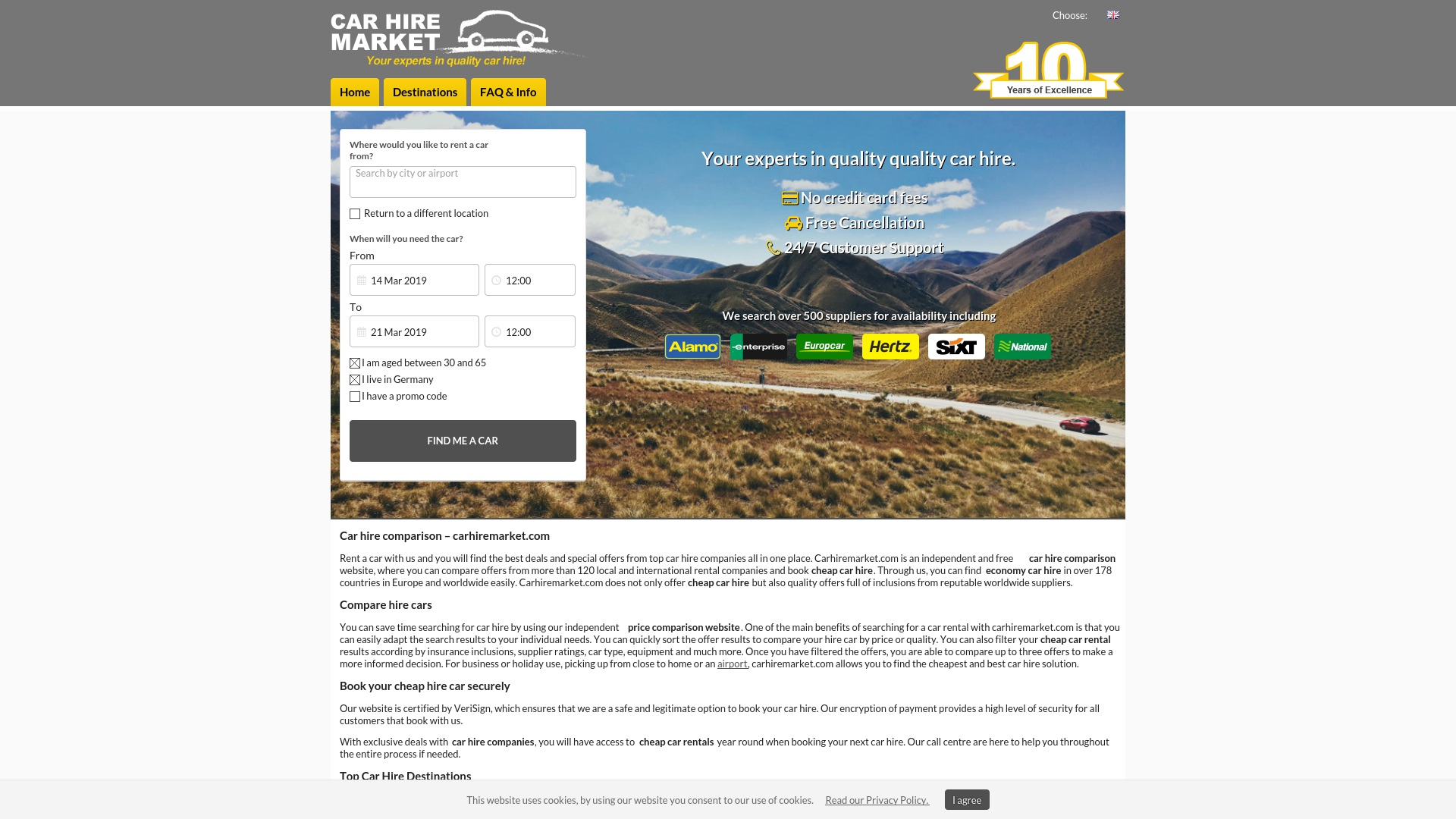 Gutschein für Carhiremarket: Rabatte für  Carhiremarket sichern