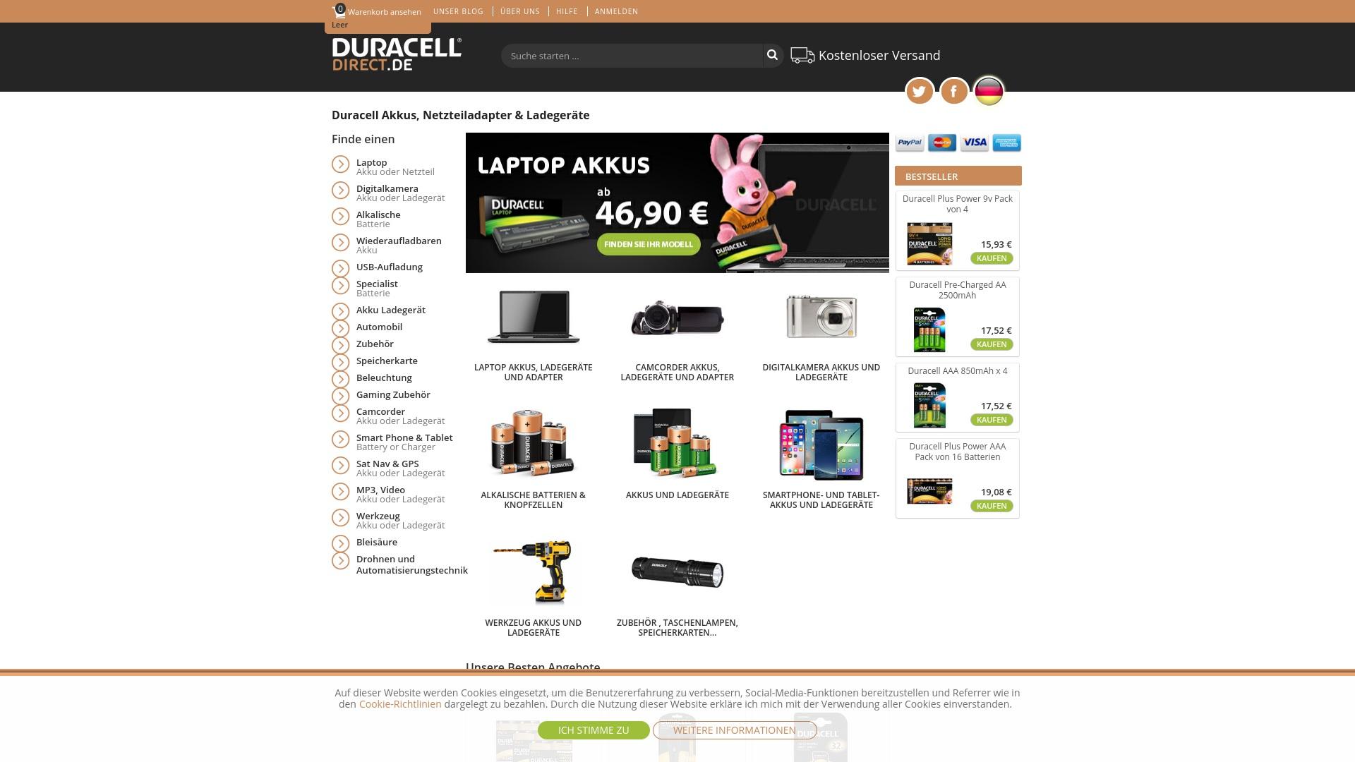 Gutschein für Duracelldirect: Rabatte für  Duracelldirect sichern