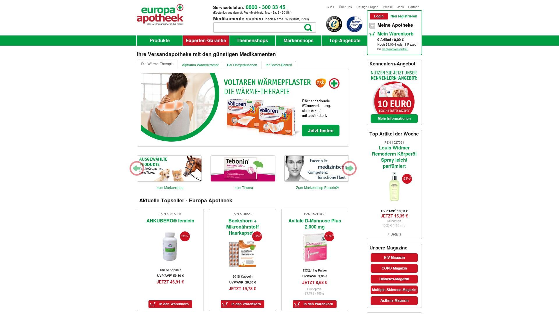 Gutschein für Europa-apotheek: Rabatte für  Europa-apotheek sichern
