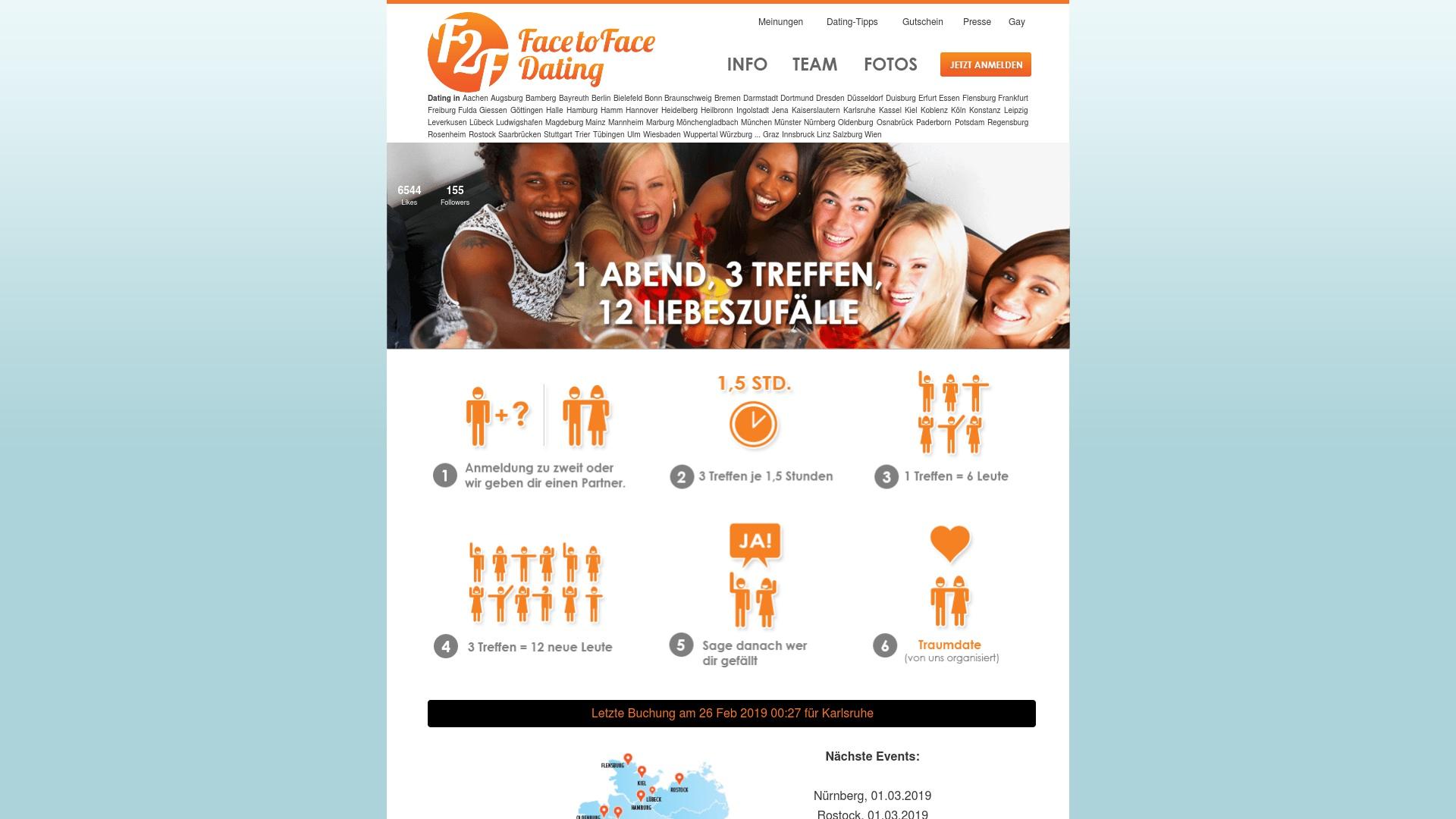 Gutschein für Face-to-face-dating: Rabatte für  Face-to-face-dating sichern