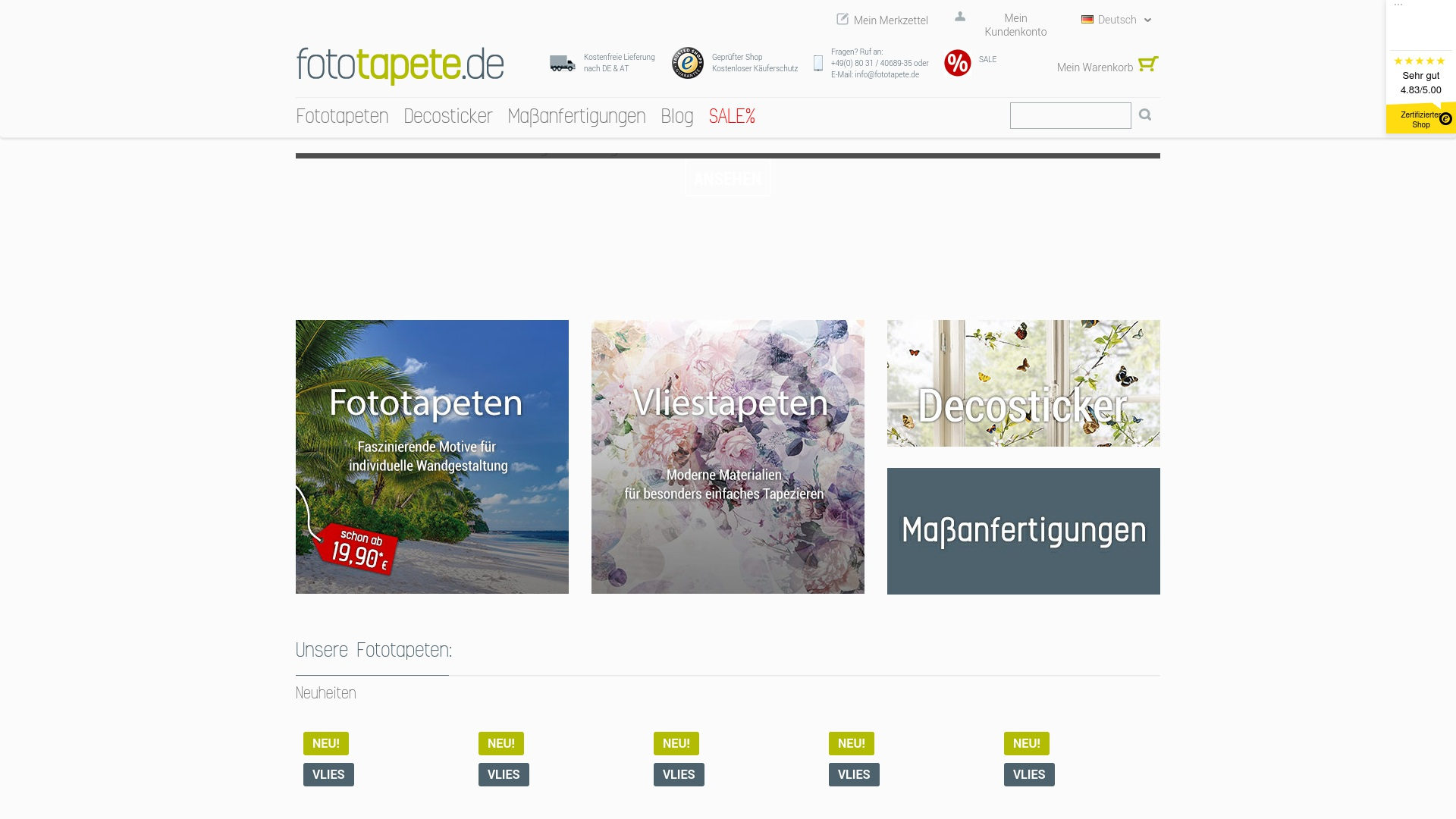 Gutschein für Fototapete: Rabatte für  Fototapete sichern
