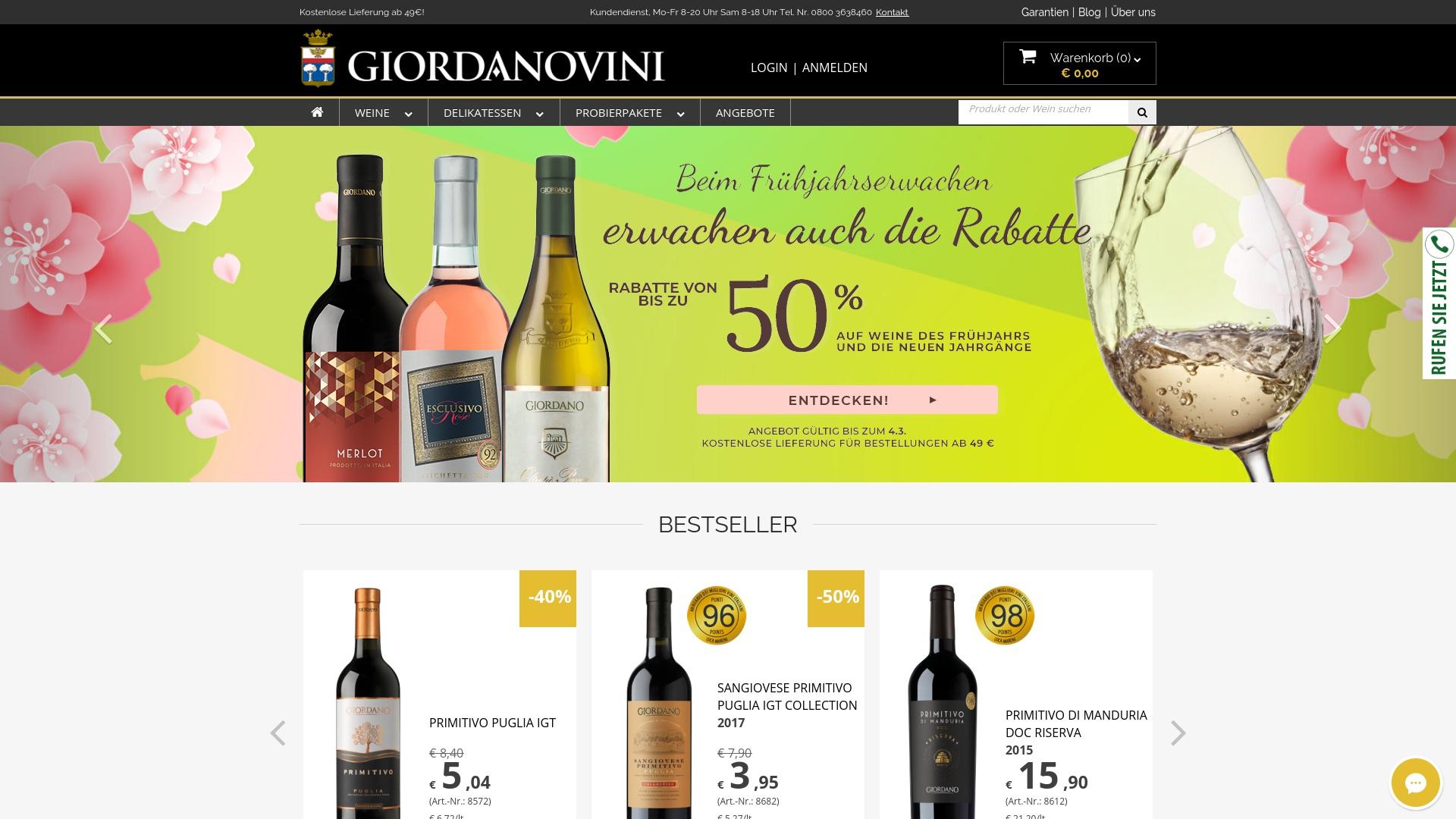 Gutschein für Giordanoweine: Rabatte für  Giordanoweine sichern