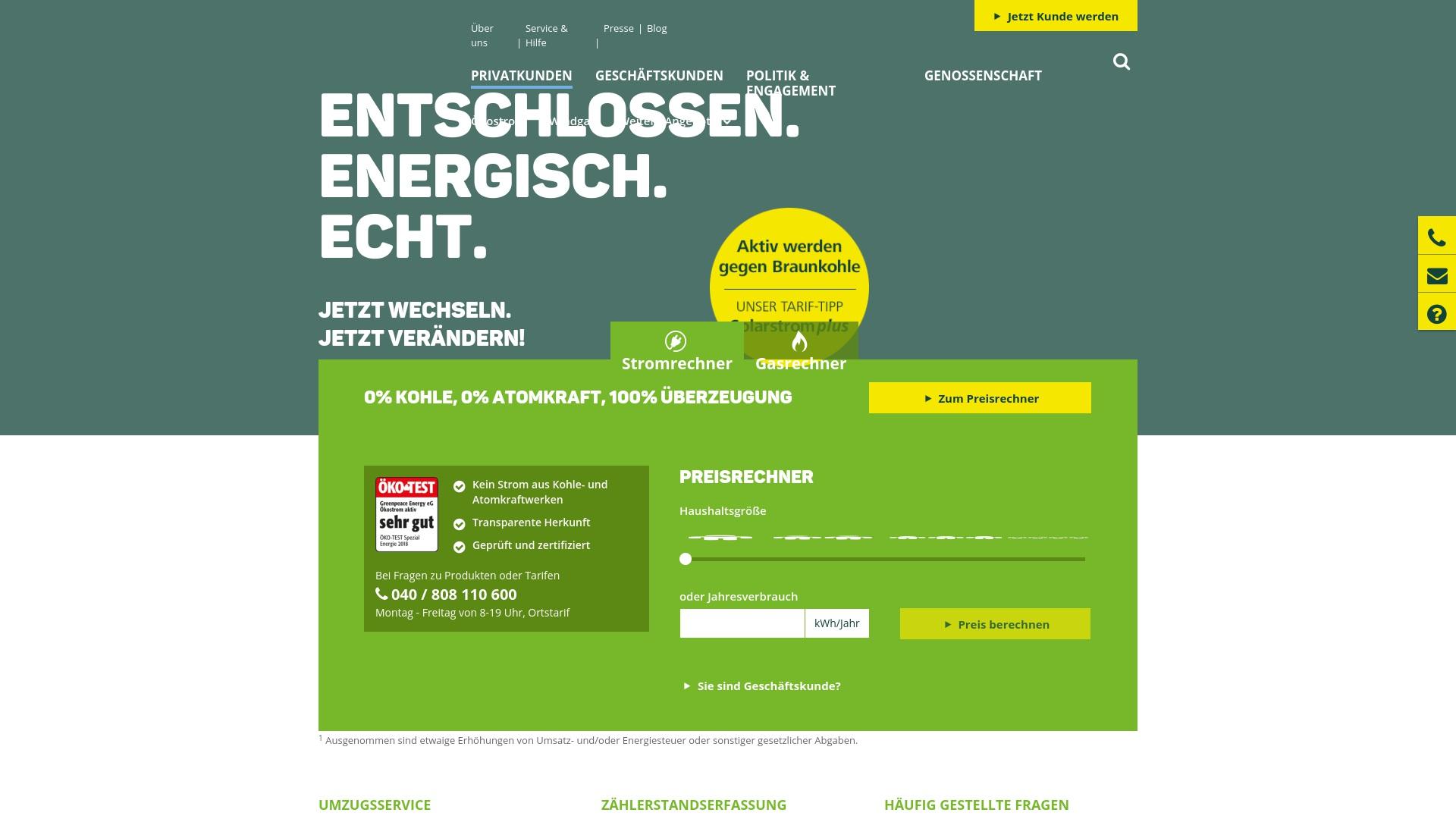 Gutschein für Greenpeace-energy: Rabatte für  Greenpeace-energy sichern