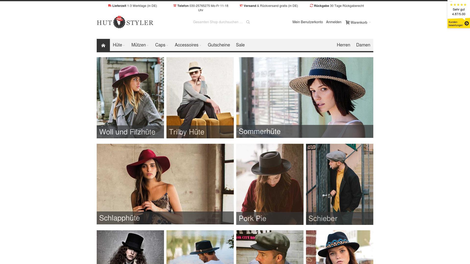 Gutschein für Hut-styler: Rabatte für  Hut-styler sichern