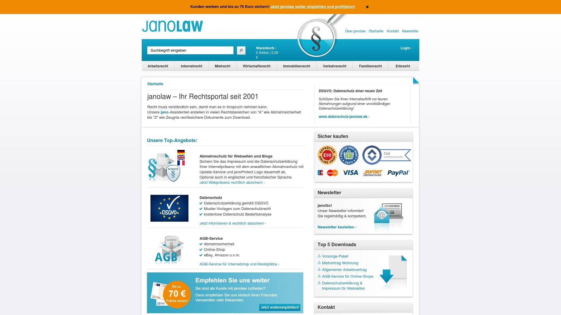 Gutschein für Janolaw: Rabatte für  Janolaw sichern