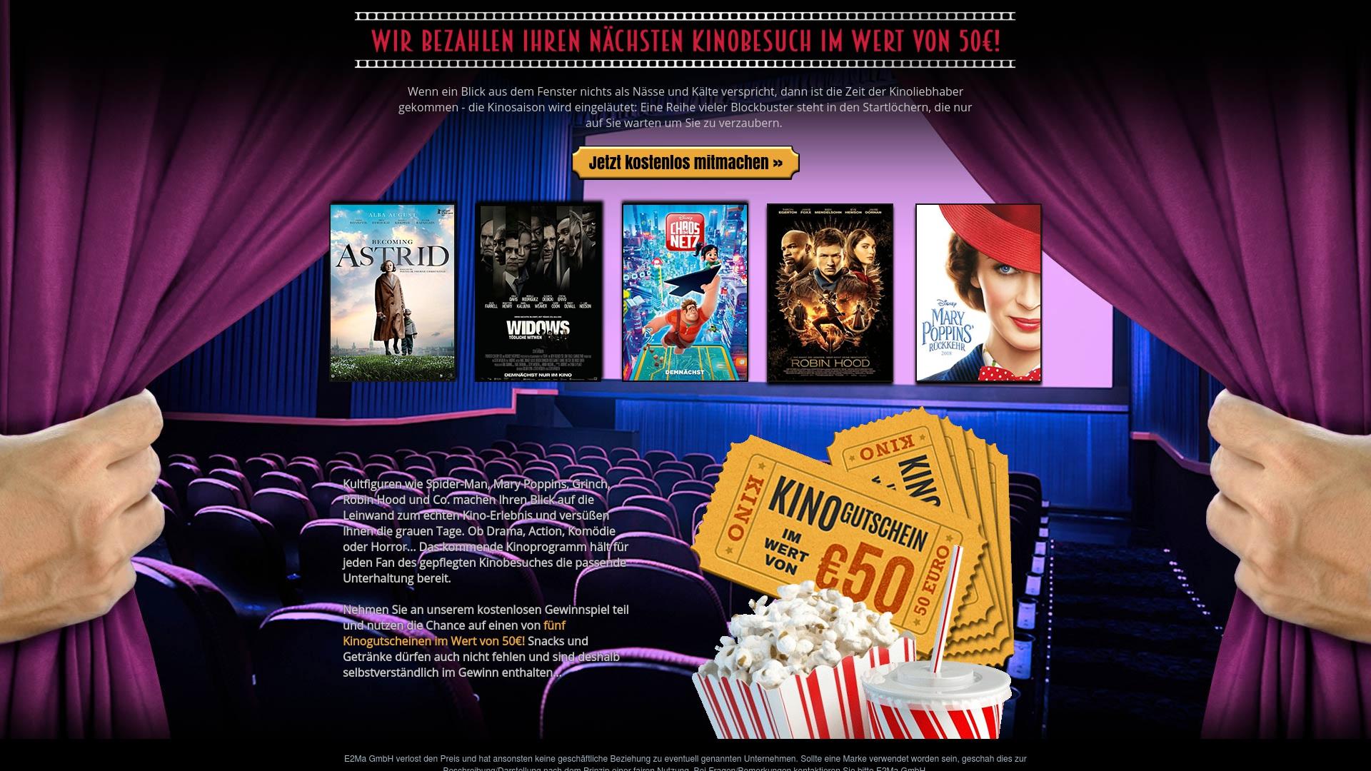 Gutschein für Kino-gutscheine-gewinnen: Rabatte für  Kino-gutscheine-gewinnen sichern