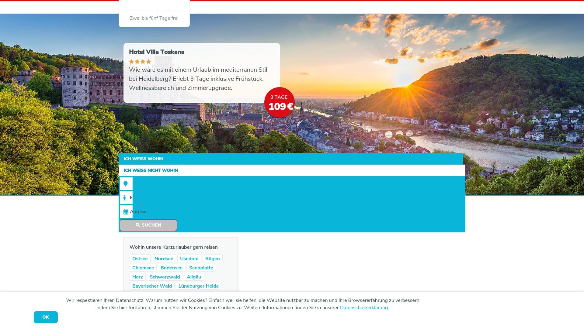 Gutschein für Kurzurlaub: Rabatte für  Kurzurlaub sichern