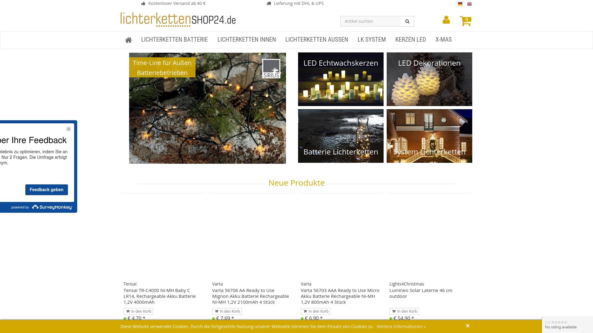 Gutschein für Lichterkettenshop24: Rabatte für  Lichterkettenshop24 sichern