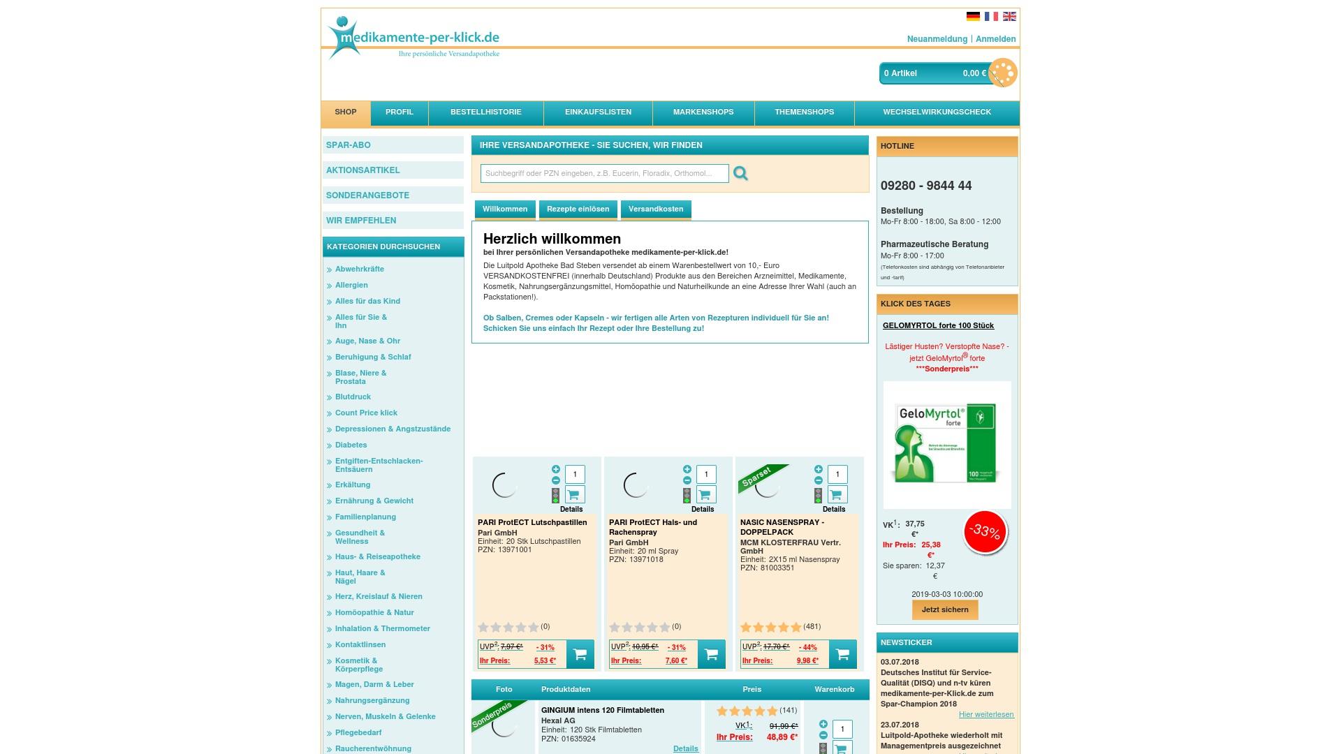 Gutschein für Medikamente-per-klick: Rabatte für  Medikamente-per-klick sichern