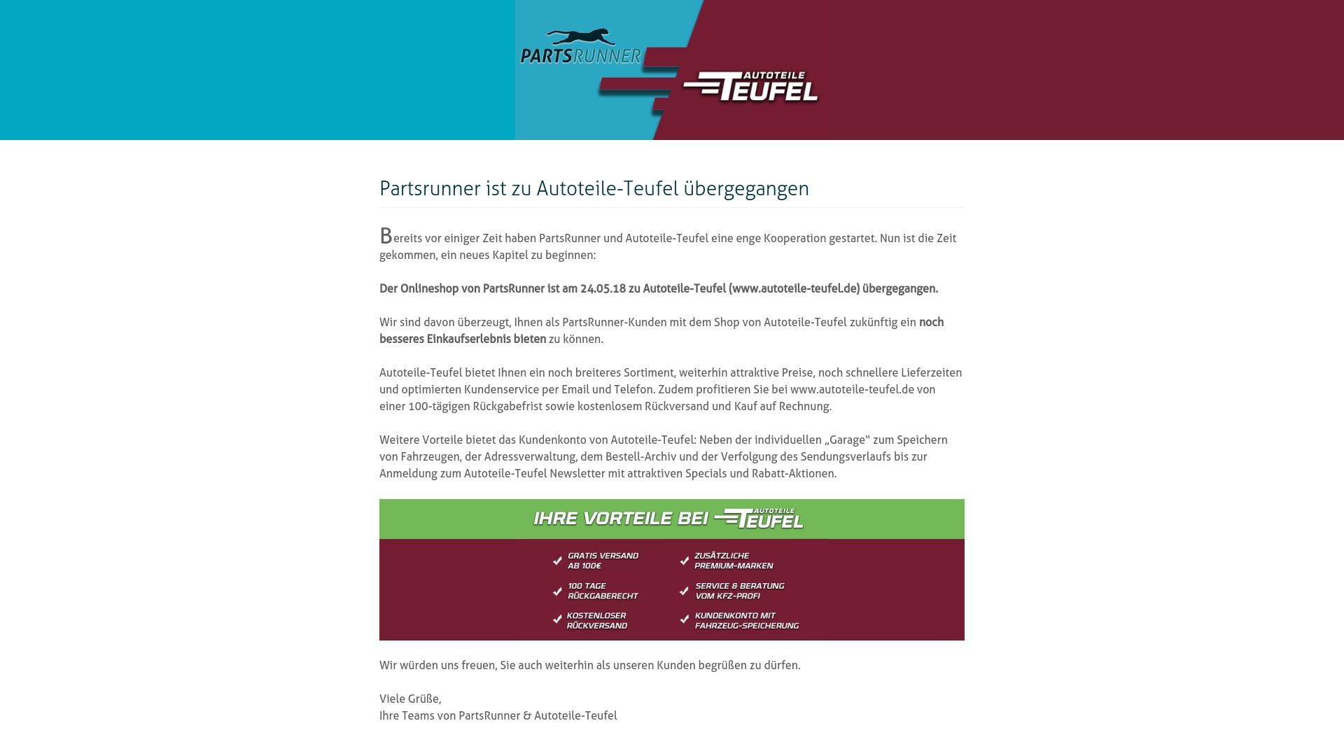 Gutschein für Partsrunner: Rabatte für  Partsrunner sichern
