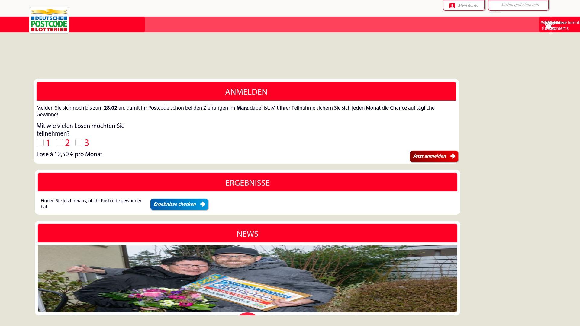 Gutschein für Postcode-lotterie: Rabatte für  Postcode-lotterie sichern