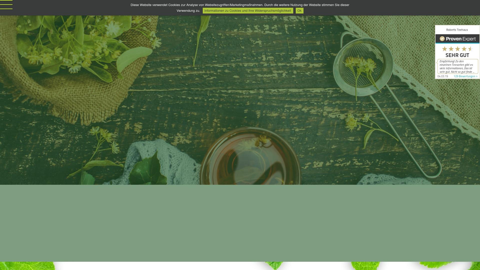 Gutschein für Roberts-teehaus: Rabatte für  Roberts-teehaus sichern