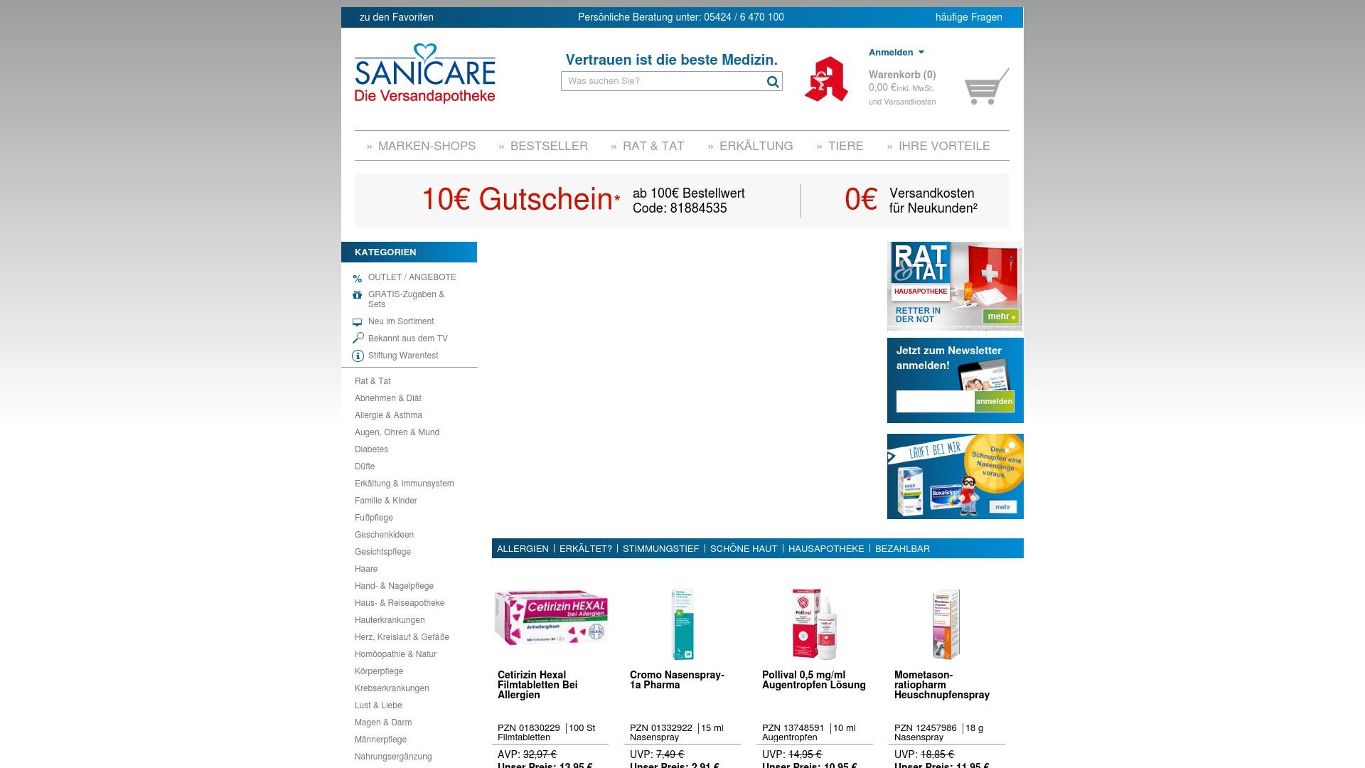 Gutschein für Sanicare: Rabatte für  Sanicare sichern