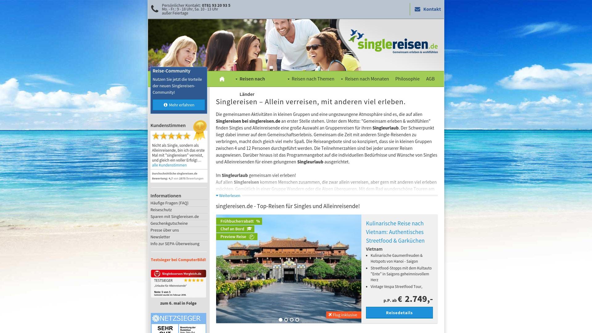 Gutschein für Singlereisen: Rabatte für  Singlereisen sichern