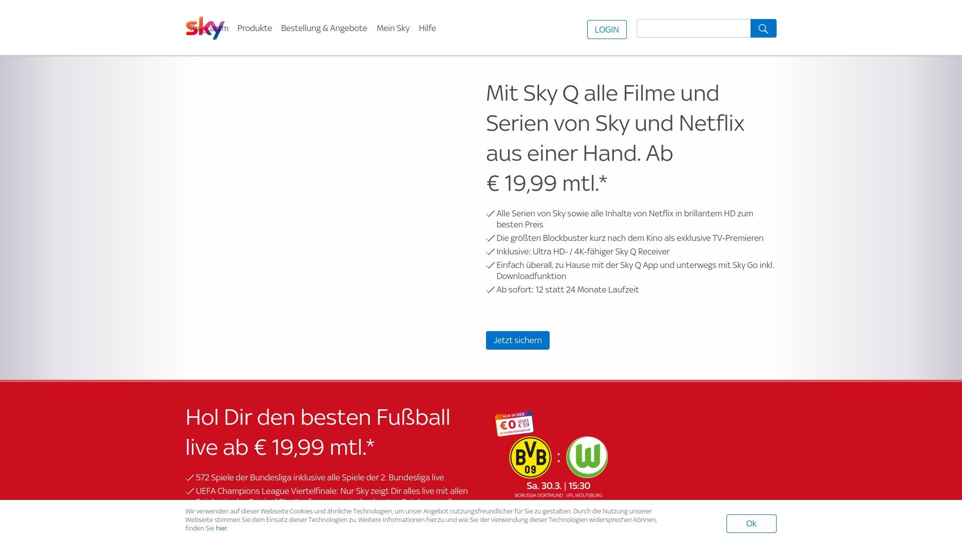 Gutschein für Sky: Rabatte für  Sky sichern