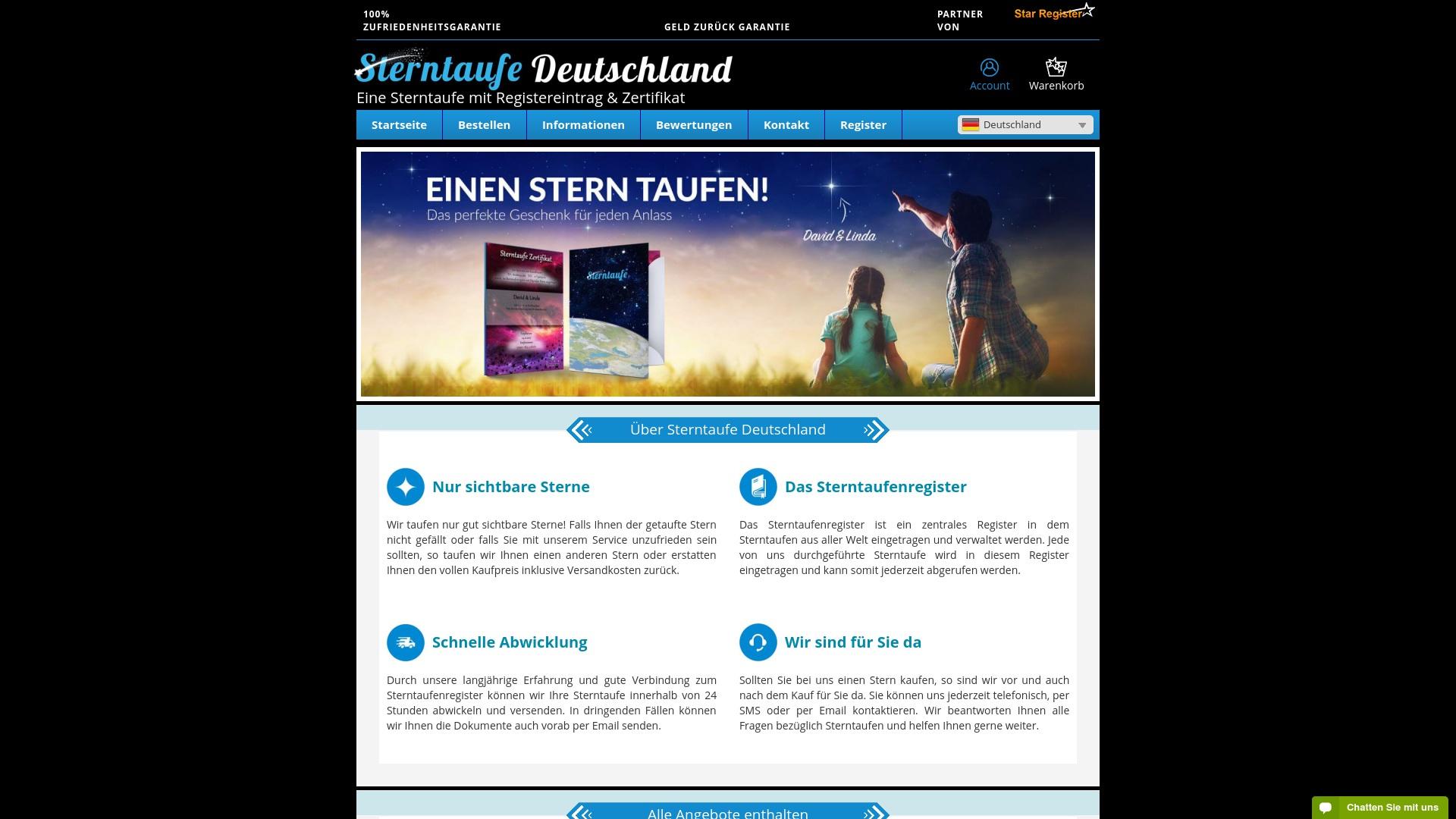 Gutschein für Sterntaufe-deutschland: Rabatte für  Sterntaufe-deutschland sichern