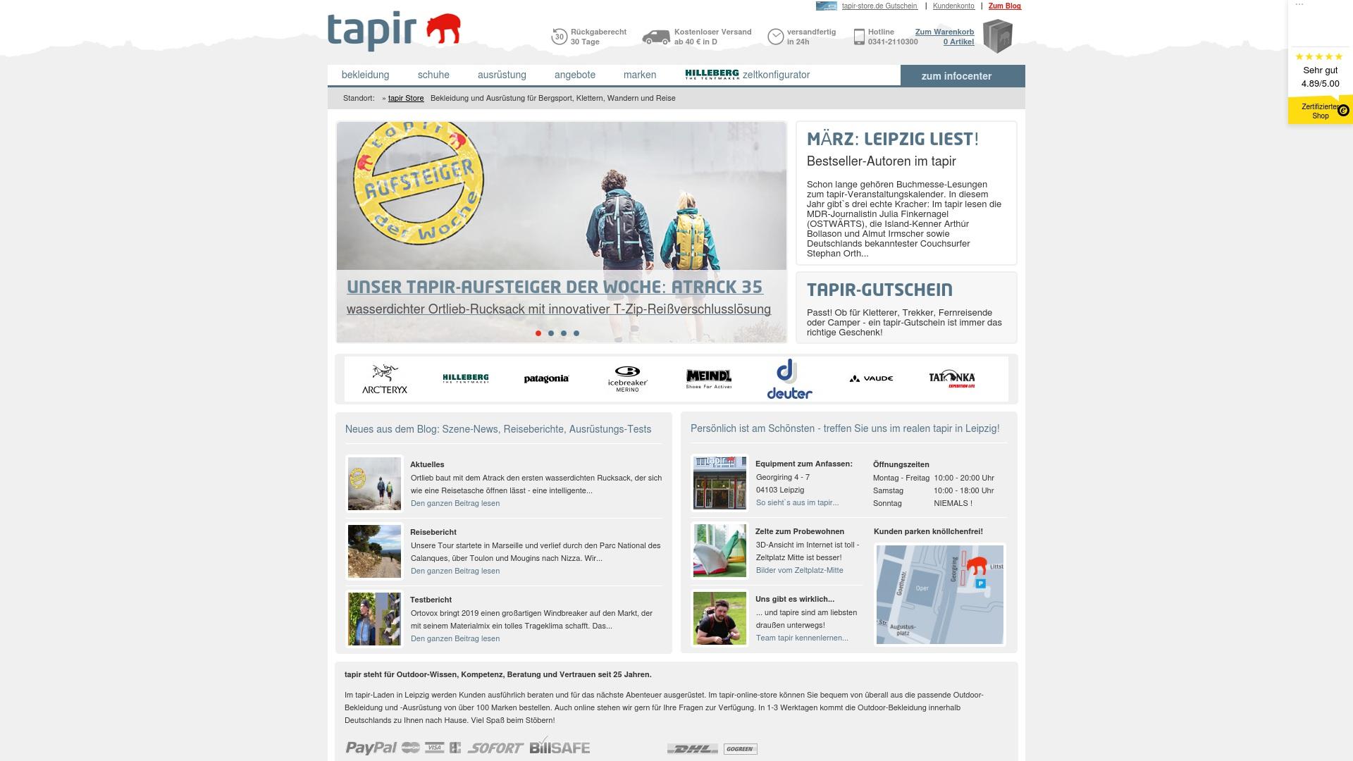 Gutschein für Tapir-store: Rabatte für  Tapir-store sichern
