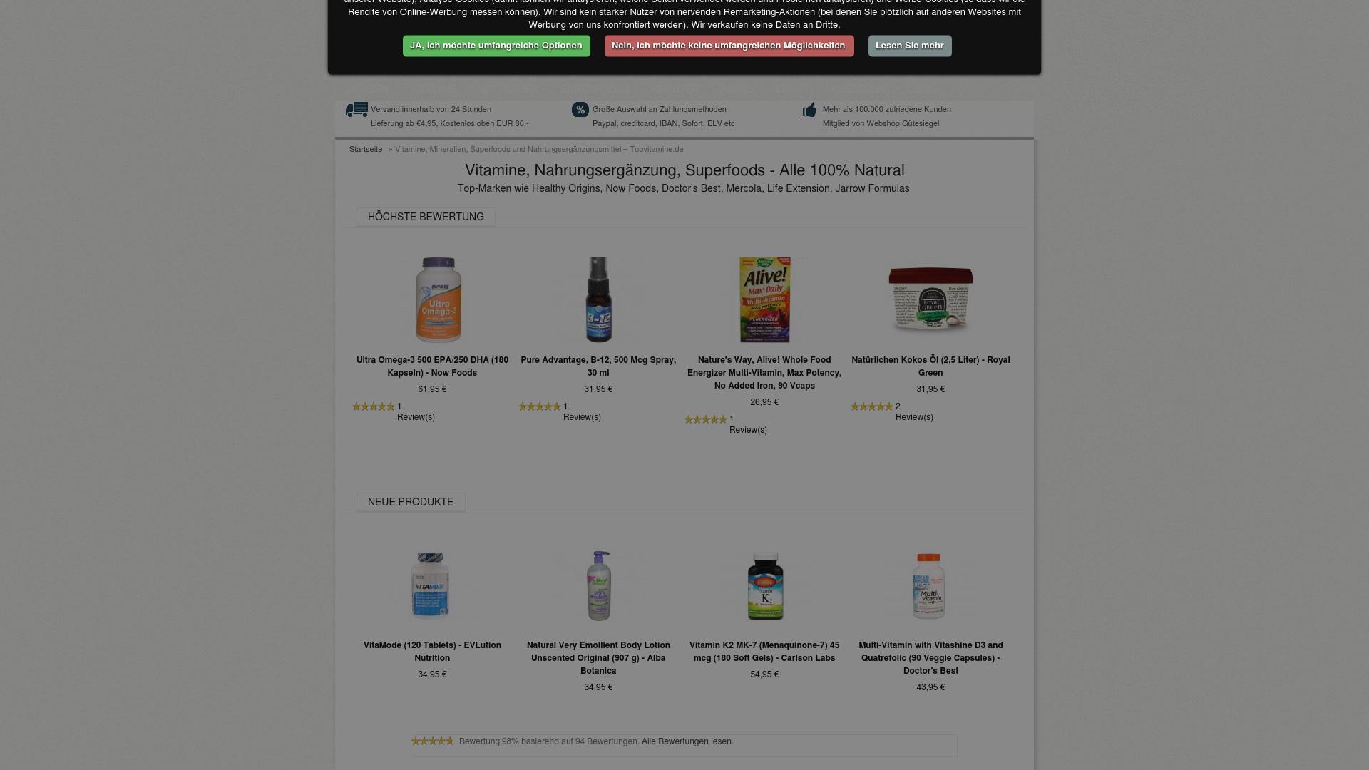 Gutschein für Topvitamine: Rabatte für  Topvitamine sichern