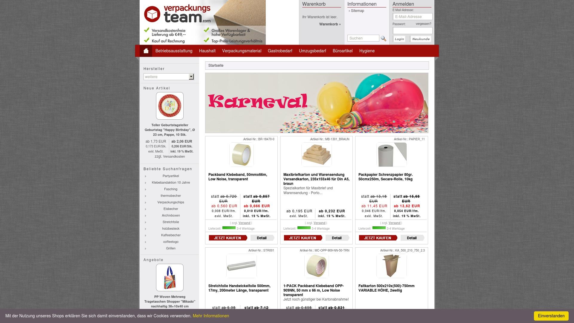 Gutschein für Verpackungsteam: Rabatte für  Verpackungsteam sichern