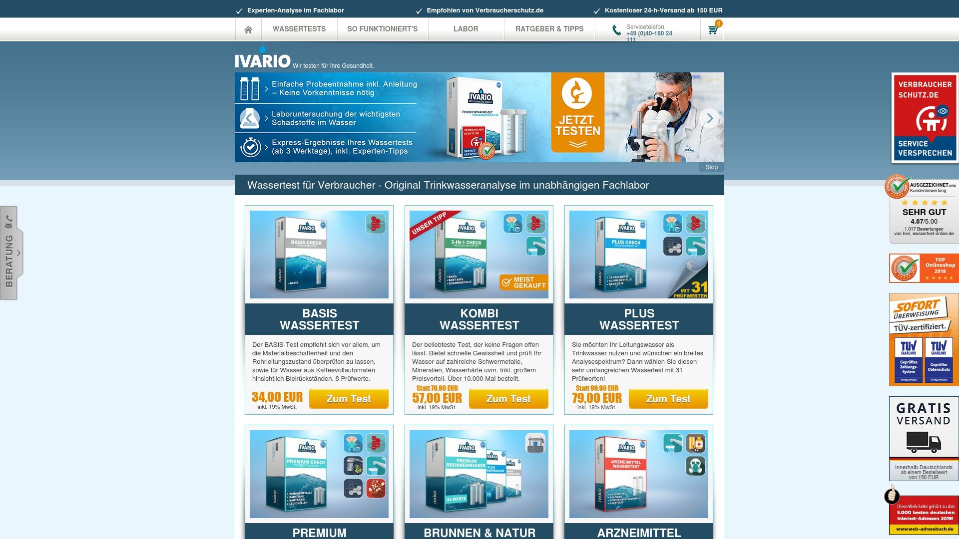 Gutschein für Wassertest-online: Rabatte für  Wassertest-online sichern